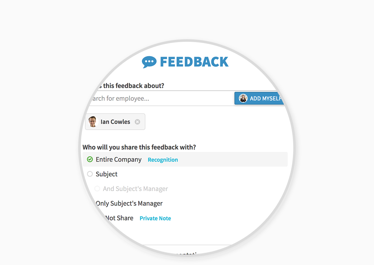 Continuous Feedback - Effective performance management is more than a completed review; it's a continuous dialogue to help employees succeed. In PerformYard you can document 1-on-1 feedback meetings, recognize great performance, share information with managers, or keep private notes to revisit at review time.