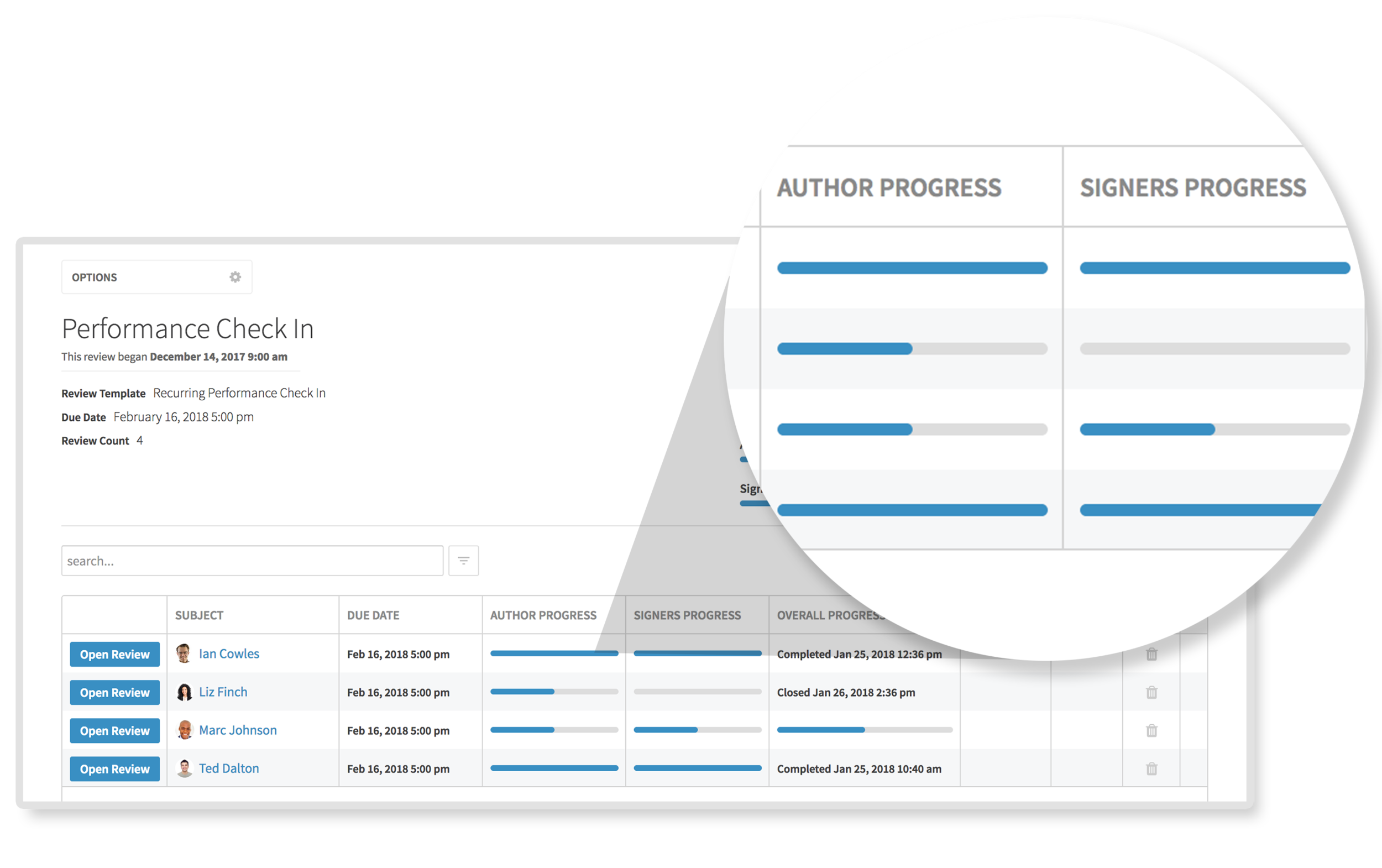 Easily Deploy & Track Progress - Launch review cycles at the time of your choosing and easily monitor who has done what to ensure timely completion of those important reviews.Access a live progress dashboard giving managers and HR staff the information needed to ensure high participation rates.