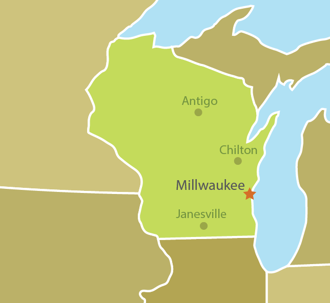 Services areas throughout the state of Wisconsin, from Janesville in the south, to Antigo and Chilton in the north.