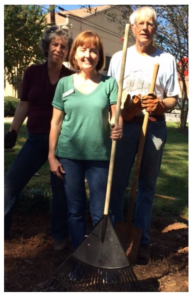 Photograph Left to Right: Master Gardener Agi Fuetterer, Library Manager, Wendy Gera, Volunteer, Clayton Sparrow