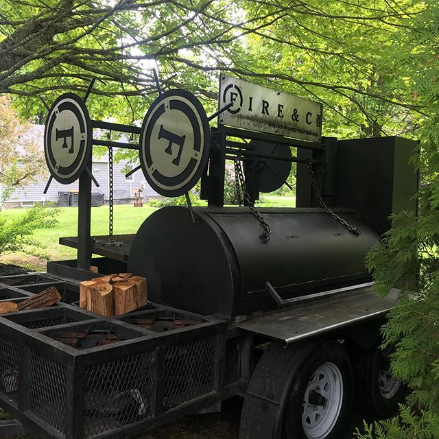The smoker has arrived!!! #fireandco #smokedmeatforthewin #mainemeats #maineweddingcaterer