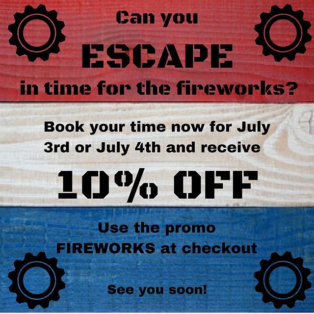 Get 10% off your entire ticket purchase this 3rd and 4th of July for any of our 4 amazing rooms. We are right next to Coolidge park, just across from the best fireworks in Downtown Chattanooga. Do you have what it takes to make it out in time before the fireworks start? Just use the code FIREWORKS at check-out. Book NOW at escapemissionchattanooga.com . . . #escaperoom #escape #chattanooga #chattanoogatennessee #tennessee #universityoftennessee #UTC #mocs #downtownchattanooga #northshorechattanooga