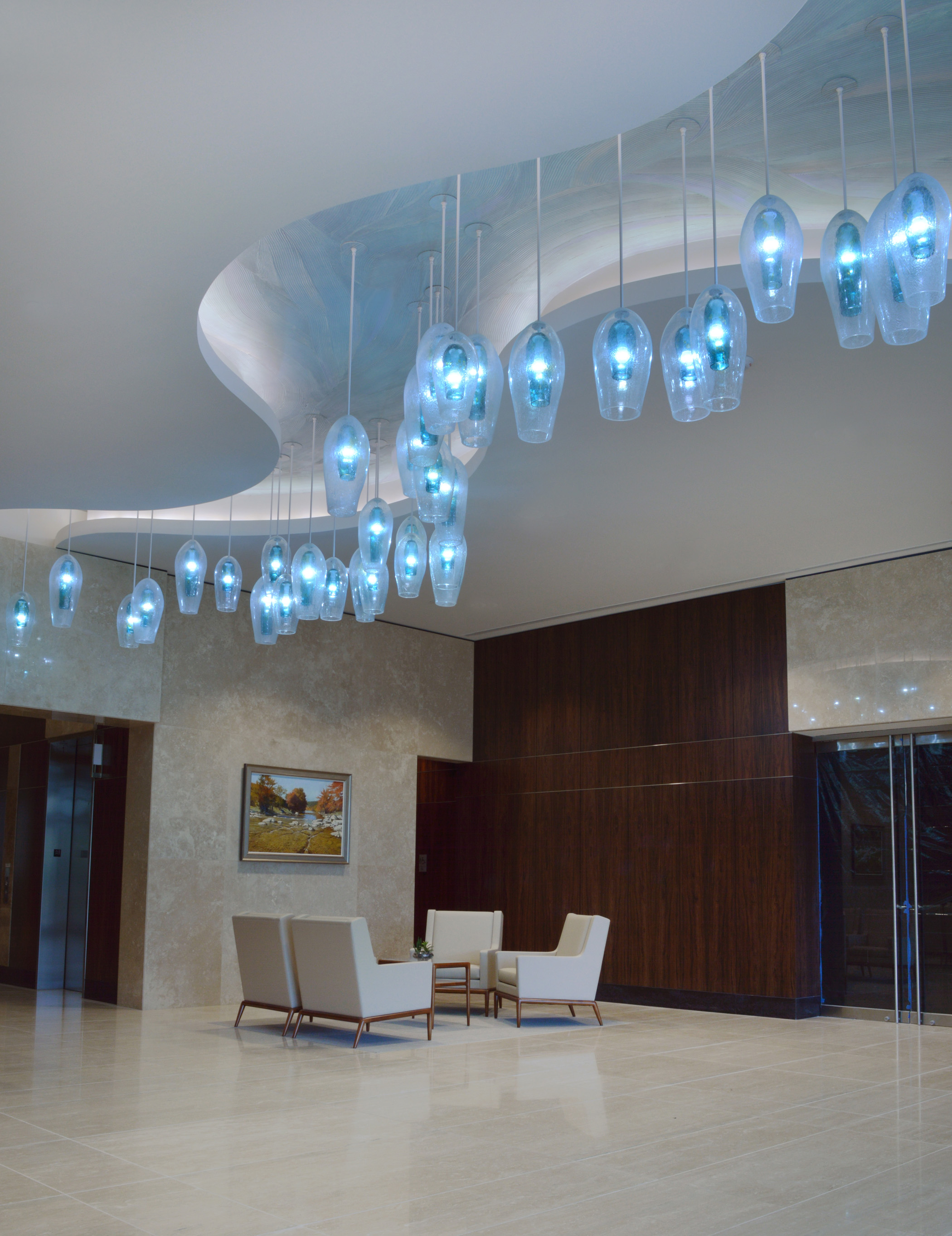 Wimberley Glassworks Briarpark Houston Blown Glass Lighting Installation North Lobby up view for web (2).jpg