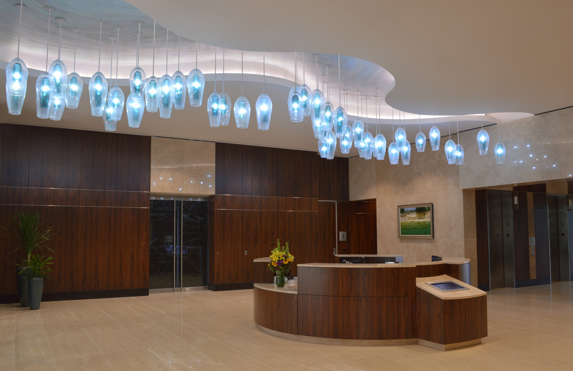 Wimberley Glassworks Briarpark Houston Blown Glass Lighting Installation North Lobby for web (2).jpg