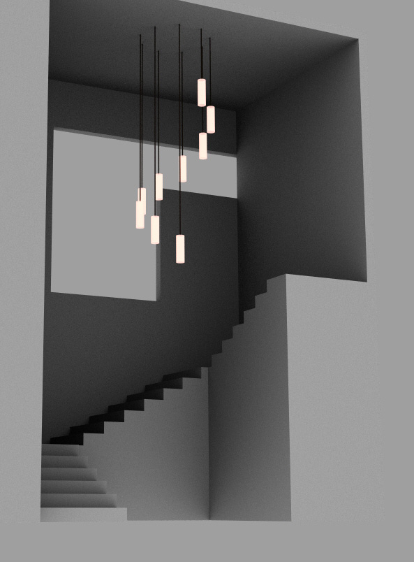 A model of the spiral of pendant lighting in the stairway