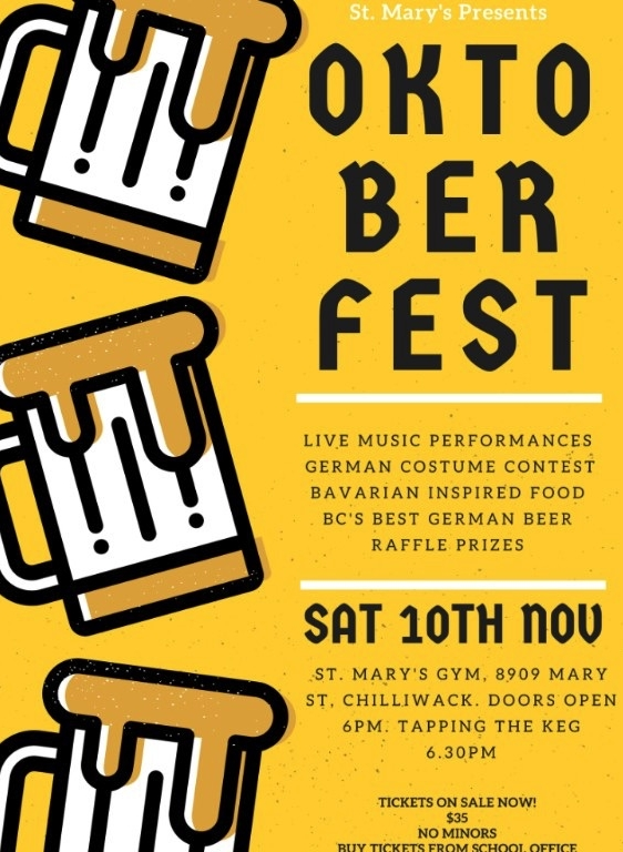 OKTOBERFEST TICKETS ON SALE NOW!  Saturday 10th Nov from 6pm to Midnight.  $35 per person, includes dinner and dance!  Music by; S-Bahn, Vancouvers popular Oktoberfest specialist!  Tickets are available in the school office. Options to buy a table if you'd like to ensure you sit with your friends!