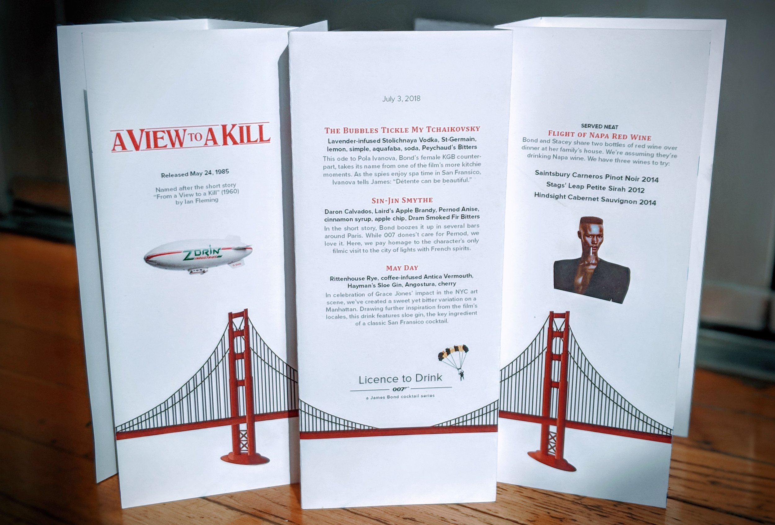 Our menu for the  A View to a Kill  party, Photo by Craig Ormiston