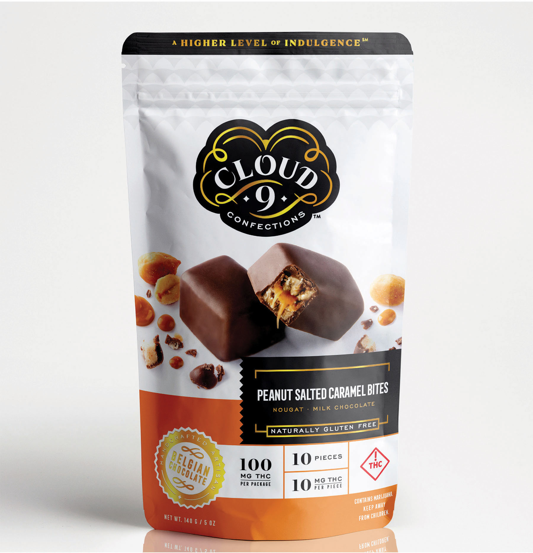 PEANUT SALTED CARAMEL BITES   Crunchy peanuts layered with creamy nougat and salted caramel, all encapsulated inside a decadent Belgian milk chocolate shell.  10 mg THC / Piece // 100 mg THC / Package