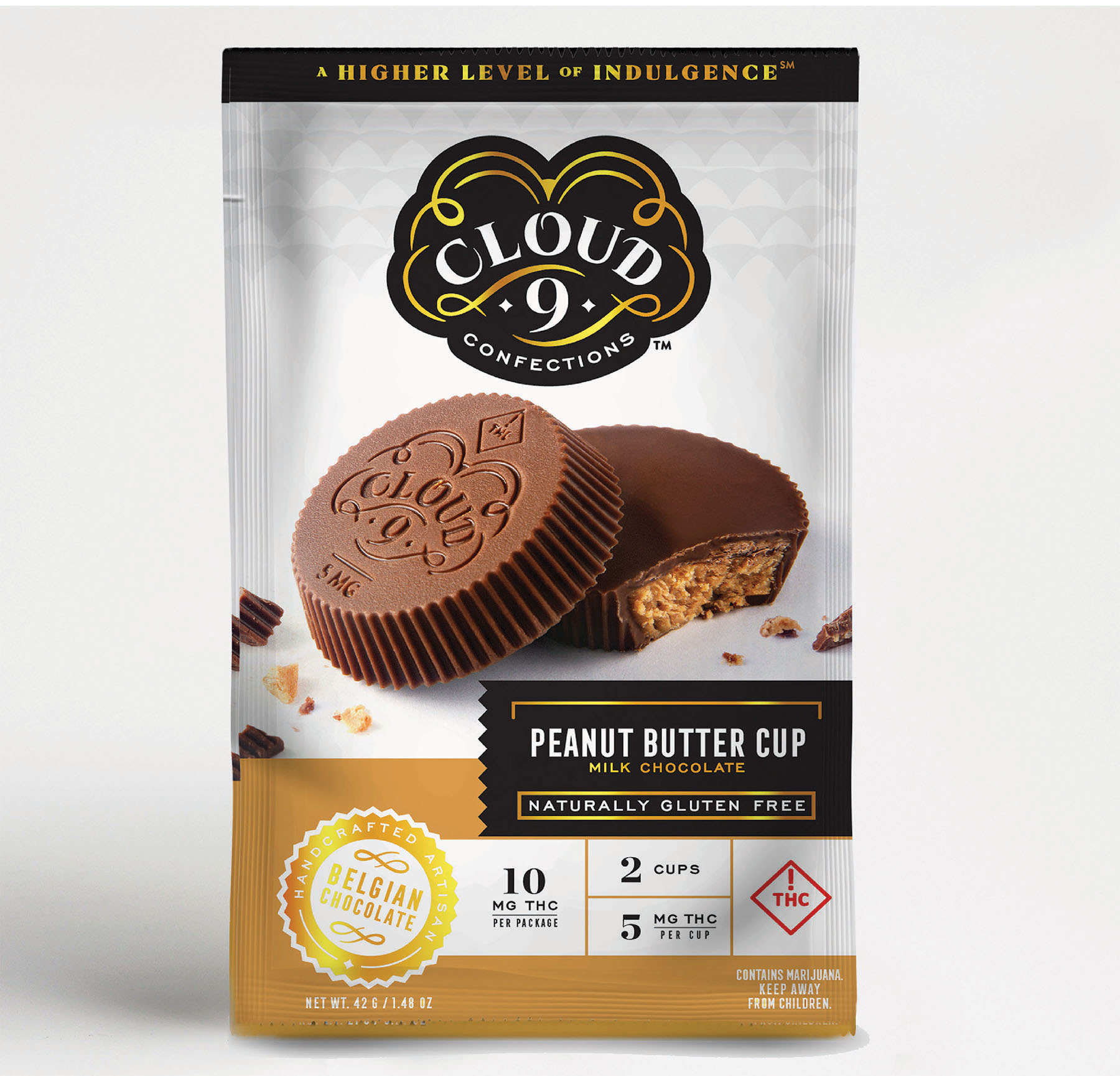 PEANUT BUTTER CUPS   Belgian milk chocolate shells bursting with a creamy and smooth peanut butter filling.  5 mg THC / Piece // 10 mg THC / Package