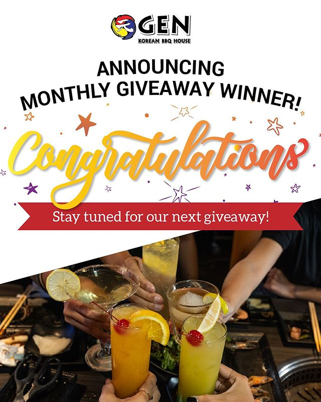 AND THE MONTHLY GIVEAWAY WINNER IS ...🥁 Drum roll, please! 🥁 …  @_lynnnethh 🎉🎉 We look forward to seeing you and your 3 besties for an unforgettable all-you-can-eat feast! Thank you for all who entered and stay tuned for next month's Instagram giveaway! 👀✨