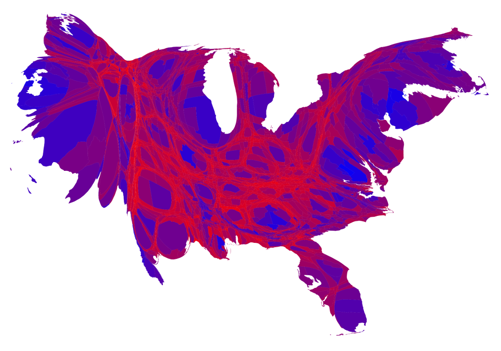 2016 U.S. presidential vote (red, Republican, shading to blue, Democrat), by county-level, population cartogram. Mark Newman, University of Michigan, http://www-personal.umich.edu/~mejn/election/2016/