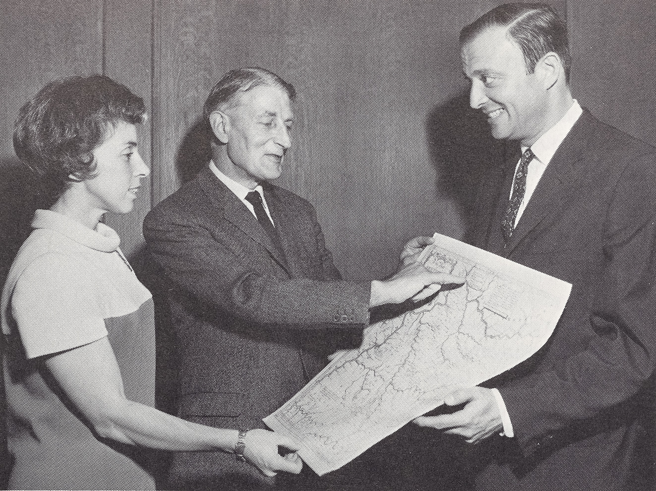 Jossy and Ken Nebenzahl, with R. A. Skelton (center), October 1966