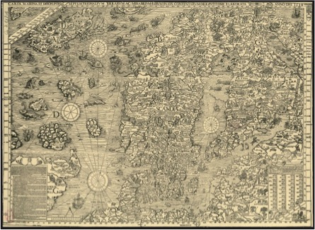 Olaus Magnus,  Carta marina et descriptio septentrionalium terrarium  (Venice, 1539) – facsimile of the Bayerische Staatsbibliothek impression
