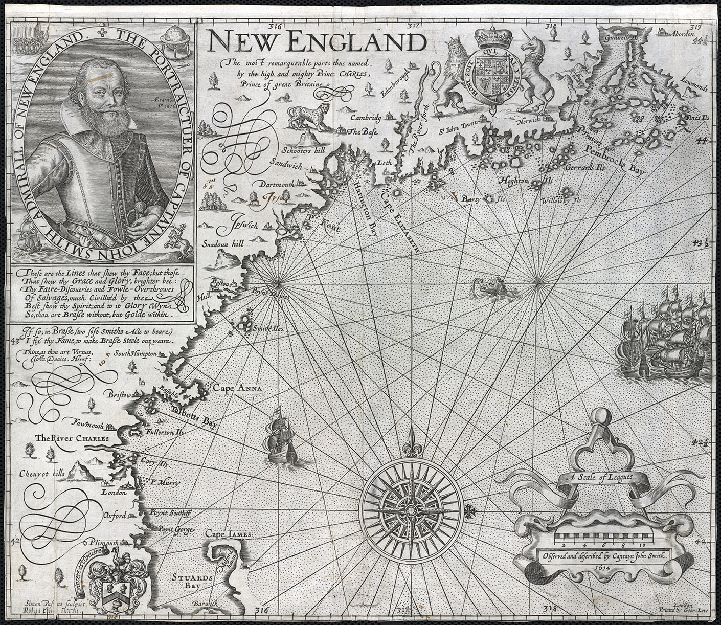Simon de Passe,  New England/John Smith , state 4 (1624). Leventhal Map Collection, Boston Public Library, https://collections.leventhalmap.org/search/commonwealth:3f462s64w]