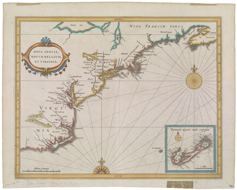 Two compass roses set off the North American coast. Joannes de Laet,  Nova Anglia, Novum Belgium et Virginia  (Leiden, 1630); www.oshermaps.org/maps/1714.0001]
