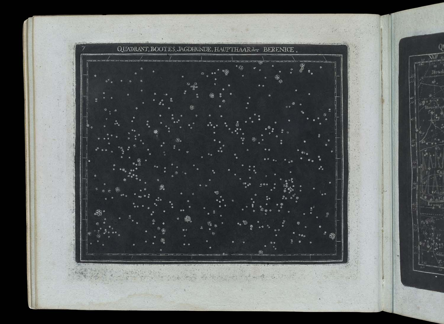 Plate 7 left: area of the night sky with Boötes, etc.