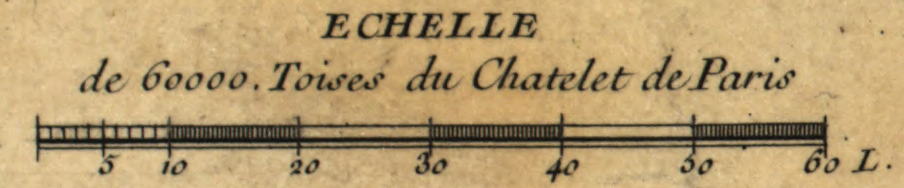 Fig. 1. Detail of the scale from Maraldi and Cassini III,  Nouvelle carte qui comprend les principaux triangles  (Paris, [1745]). Library of Congress.