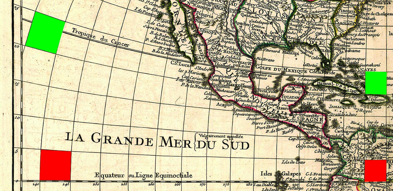 Fig. 2. A demonstration of areal distortion: each pair of quadrilaterals, the red and the green, has the same area on the earth but not on the map. Detail of Philippe Buache, after Guillaume Delisle,  Carte d'Amerique dressée pour l'usage du Roy  (Paris, 1780). Library of Congress.