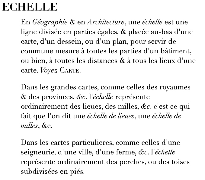 Fig. 3. Definition of  échelle  from  Encyclopédie  (Paris, 1755), 5: 248 (ipad edition, ARTFL, University of Chicago).