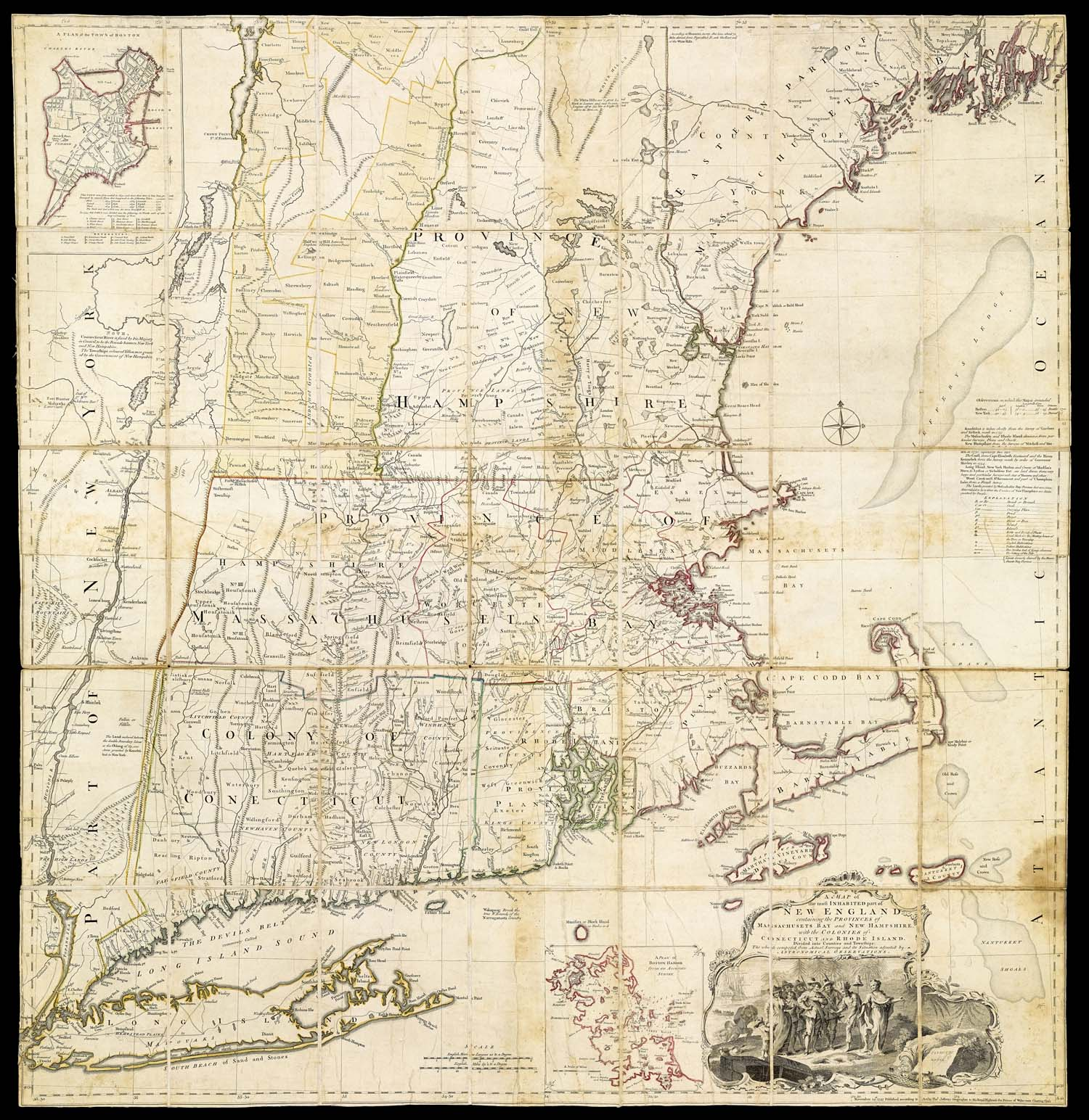 """[John Green],  Map of the most Inhabited Part of New England  (London, 1774). Height 105 cm (41.5""""). Osher Map Library and Smith Center for Cartographic Education, University of Southern Maine (Osher Collection). See http://www.oshermaps.org/map/753.0001."""