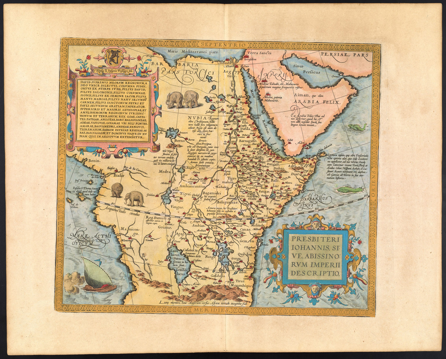 Abraham Ortelius,  Presbiteri Iohannis, sive, Abissinorum imperii description  (Amsterdam, 1579) (Van der Krogt 1997– , 3: map 8720:31): Osher Map Library and Smith Center for Cartographic Education, University of Southern Maine; Osher Collection. See http://www.oshermaps.org/map/310.0001