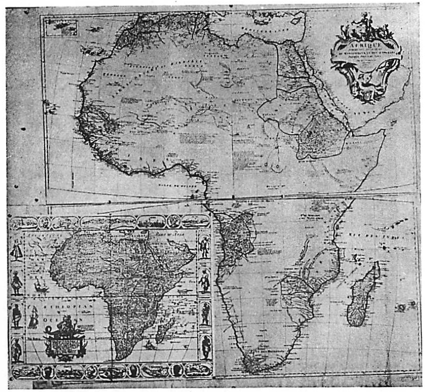 Raisz (1938, 46, fig. 21): an overlay, with an approximately consistent degree of reduction, of two maps of Africa. In the foreground is Robert Walton's 1658 map of Africa (Betz 2007, no. 88), a close derivative of a later state of Nicolaus Visscher's map originally published by Pieter van den Keere in 1614 (Betz 2007, no. 55); Raisz misidentified it as the work of Jan Jansz. (Johannes Janssonius). The background is J. B. B. d'Anville's  Afrique  (Paris, 1749) in four sheets.