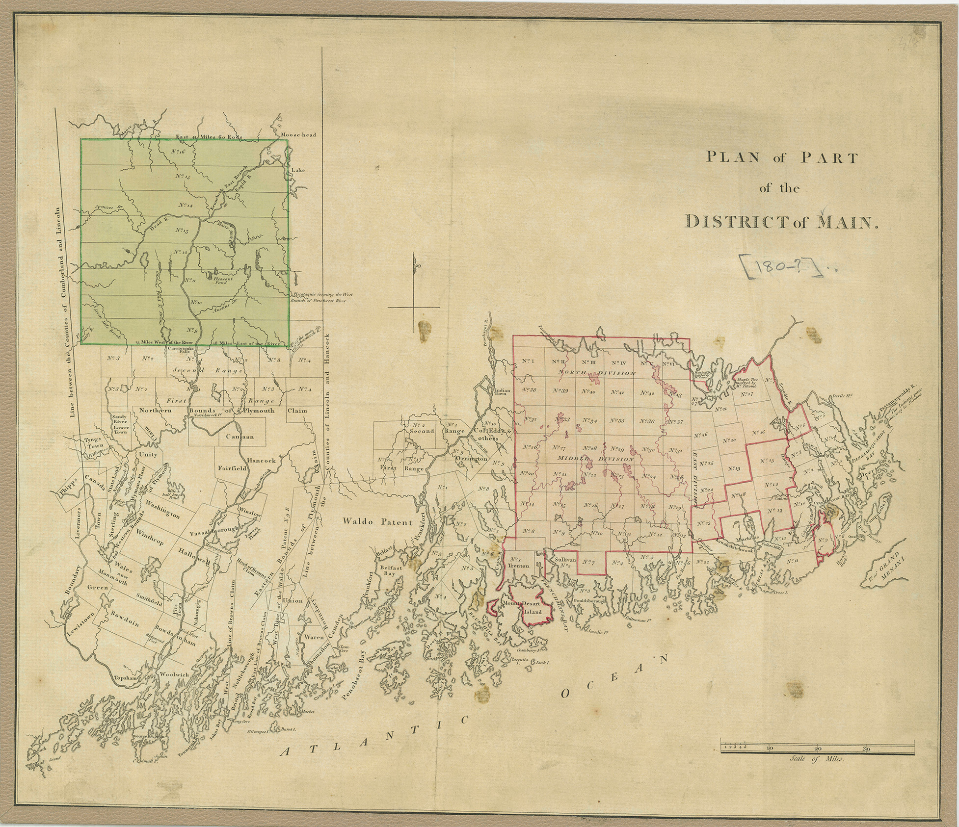 "Fig. 1.  Plan of Part of the District of Main  (n.p, n.d.). ""Main"" was a fairly common variant of ""Maine"" in the eighteenth century. Drawn without projection, on a scale of about one inch to twelve miles. Hand-colored copper engraving, 34.5 × 40.5 cm (neat line), 36 × 42 cm (plate mark). Courtesy of the Geography and Map Division, Library of Congress."