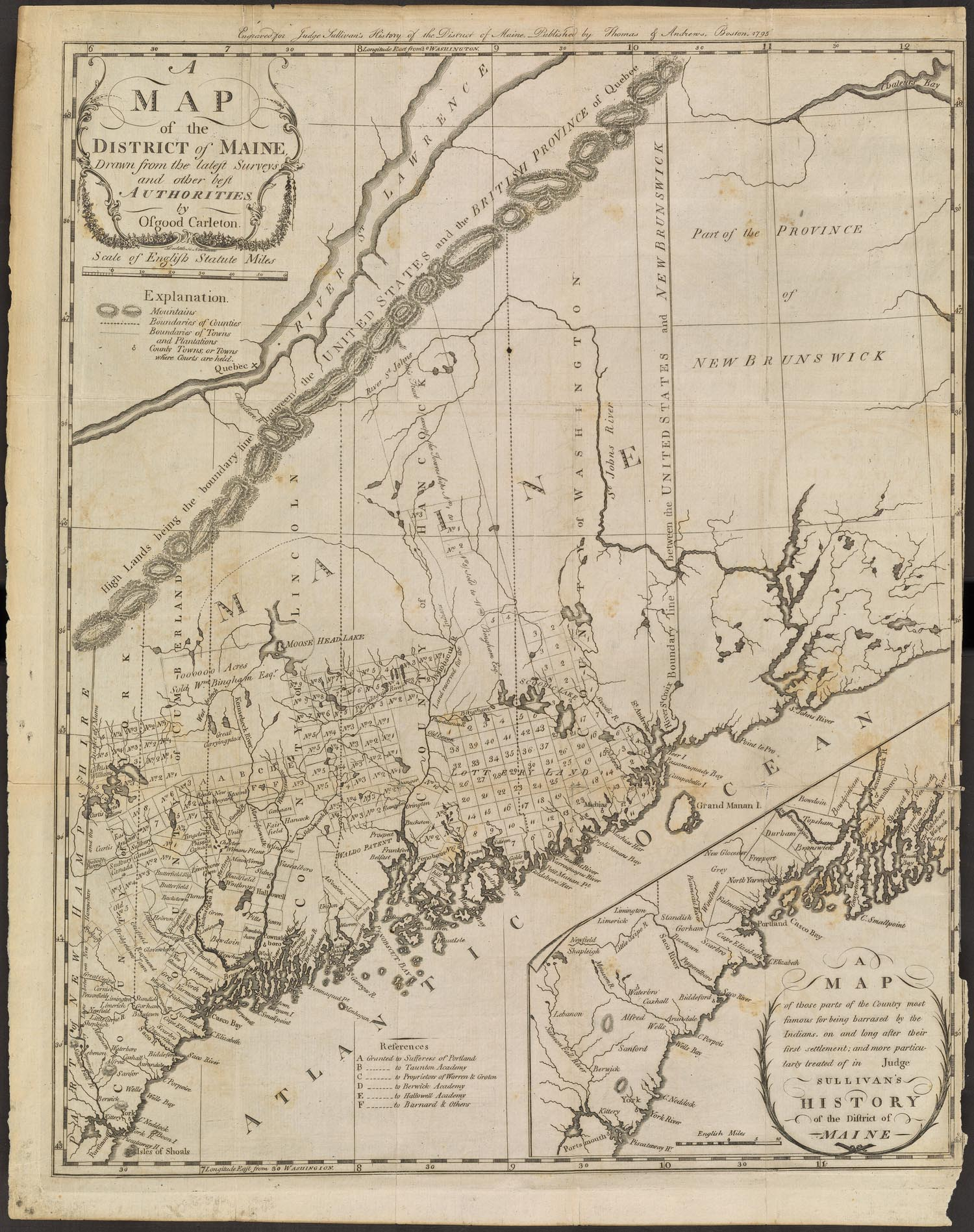 Fig. 2. Osgood Carleton,  Map of the District of Maine Drawn from the Latest Surveys and Other Best Authorities , frontispiece to James Sullivan,  The History of the District of Maine  (Boston: Isaiah Thomas, 1795). Thompson (2010, no. 2). Courtesy of the Osher Map Library and Smith Center for Cartographic Education, University of Southern Maine (Osher Collection).  https://oshermaps.org/map/11900.0001