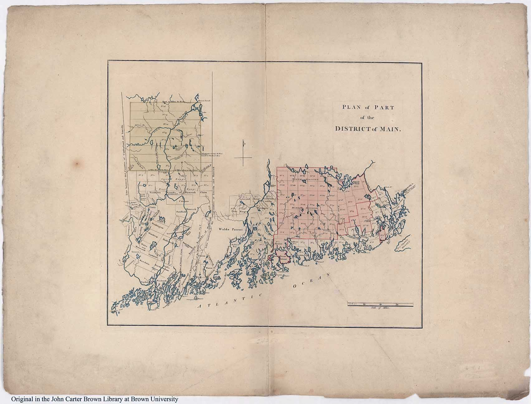 Fig. 4.  Plan of Part of the District of Main  (n.p, n.d.). Courtesy of the John Carter Brown Library, Brown University, Providence, R.I. (Cabinet Cb793 2.1). https://www.brown.edu/academics/libraries/john-carter-brown/jcb-online/image-collections/map-collection