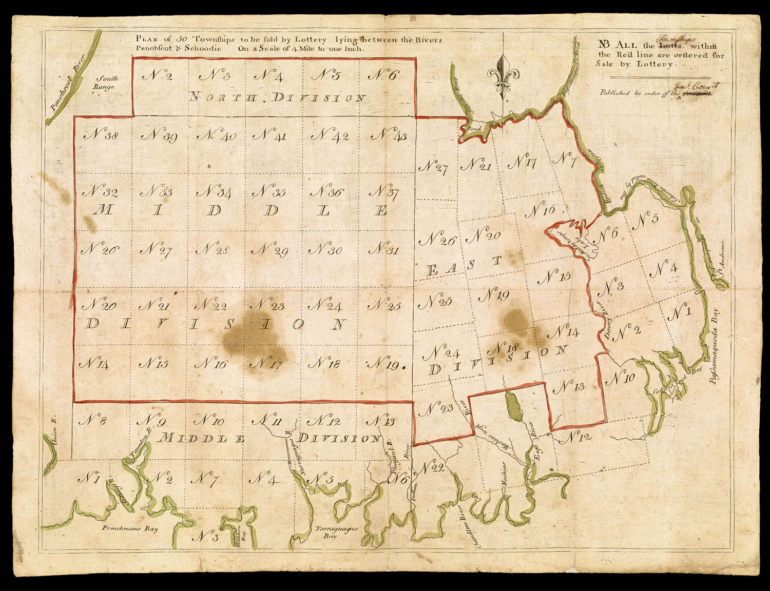 "Fig. 6.  Plan of 50 townships to be sold by lottery lying between the rivers Penobscot & Schoodic | NB All the Lotts  [replaced in ms with Townships],  with the Red line are ordered for Sale by Lottery. | Published by order of the Committe  [replaced in ms with Genl. Court] ([Boston]: [1786]); 34cm × 45cm; 1:253,440. This printed map, with manuscript emendations to the tile—the correction of ""Townships"" for ""Lotts"" was made on all impressions that I've seen; that of ""Genl. Court"" for ""Committe"" was not made on all—was probably intended to advertise the 1786 lottery. Courtesy of the Osher Map Library and Smith Center for Cartographic Education, University of Southern Maine (Gift of Harry Pringle in honor of Peggy Osher). http://www.oshermaps.org/map/45937.0001"