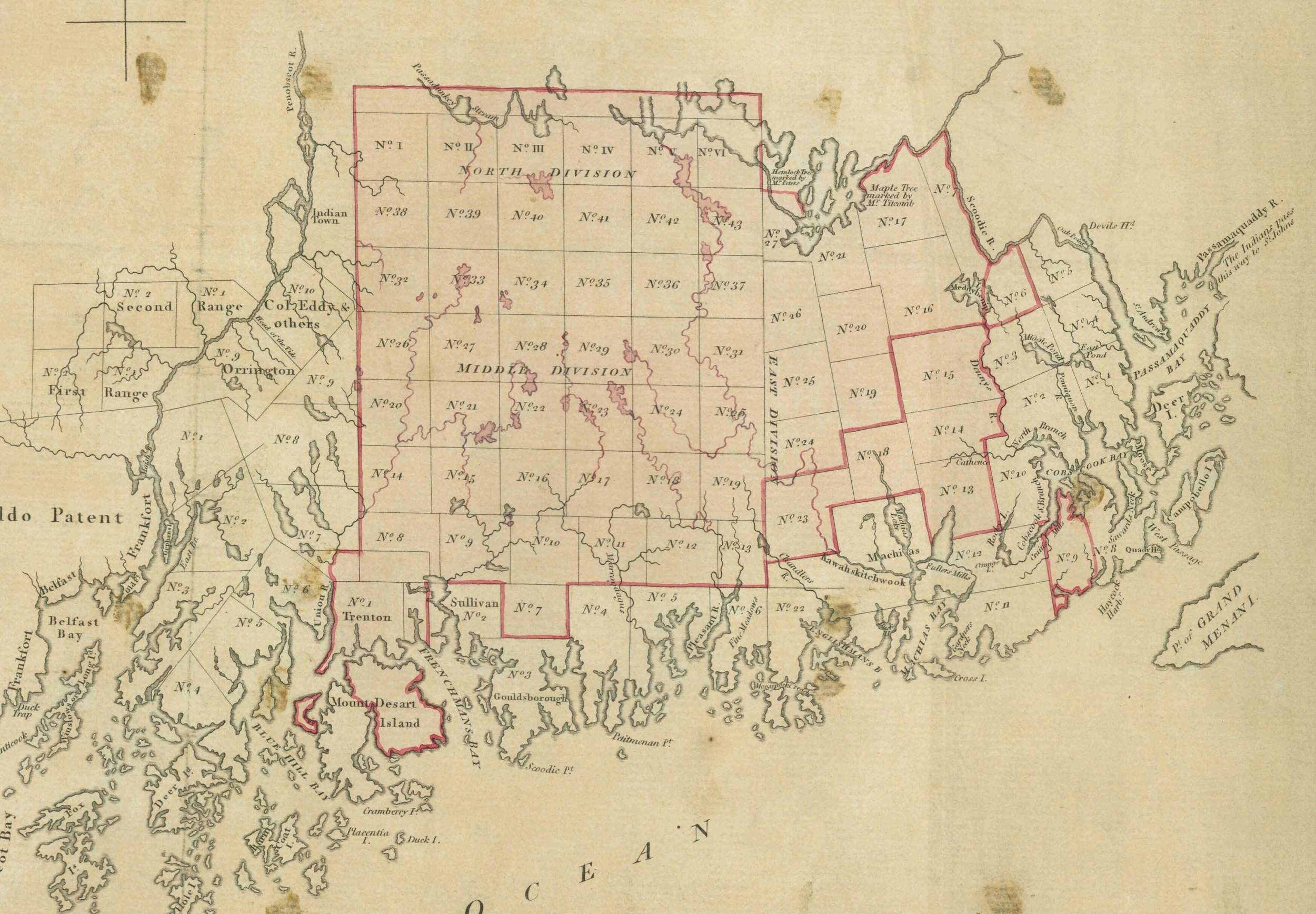 Fig. 9. Detail of the Penobscot Purchase on  Plan of Part of the District of Main  (n.p, n.d.). See fig. 1. Courtesy of the Geography and Map Division, Library of Congress.