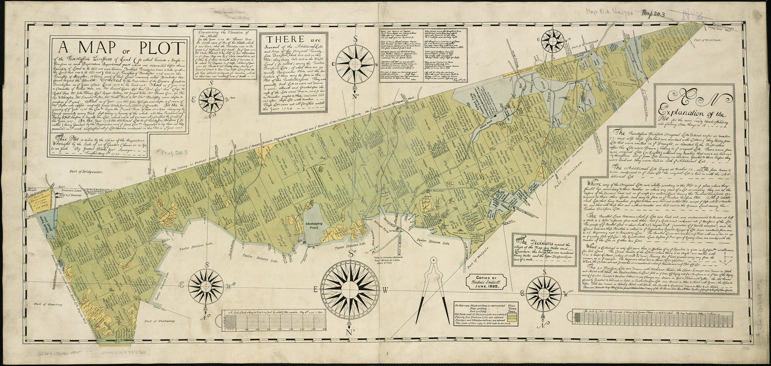 "Frederic Endicott's reduced facsimile (1895) of James Blake, Jr., ""A Map or Plot of the Twentyfiue Divisions of Land … late in ye Township of Dorchester and now in the Township of Stoughton, it being that Land commonly called Dorchester New-Grant beyond the Blew-hills … Finished May 8th 1730."" Hand-colored lithograph, 36 × 81 cm."