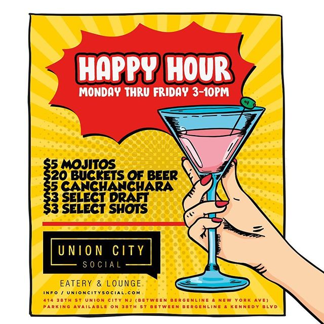Happy Sunday #SundayFunDay HappyHour time  #Eat • #Drink • #Watch • #Socialize Union City Social Eatery & Lounge  414 38th st Union City, NJ 07087 Enjoy our delicious Cuban Cuisine & Cocktails ========================================== 🥘 3pm to 2am (Monday - Saturday) 🍷 Happy Hour 3pm - 7pm (Monday - Saturday) 🍳 11am - 3pm (Sunday Brunch) 🍽 Kitchen open till 1am (Monday - Sunday) 🌎 Visit us online www.UnionCitySocial.com 🚗 Parking Available on 38th street ========================================== #hudsoncounty #unioncity #unioncitysocial #homeofthemojito #lacasadelmojito #mojitos #cubanfood #foodporn #eatery #drinks #beer #wine #cocktails #canchanchara #northbergen #restaurant #inGODwetrust #food #foodie #NewJersey #bergenline #margaritas #greatVIBESonly #photooftheday
