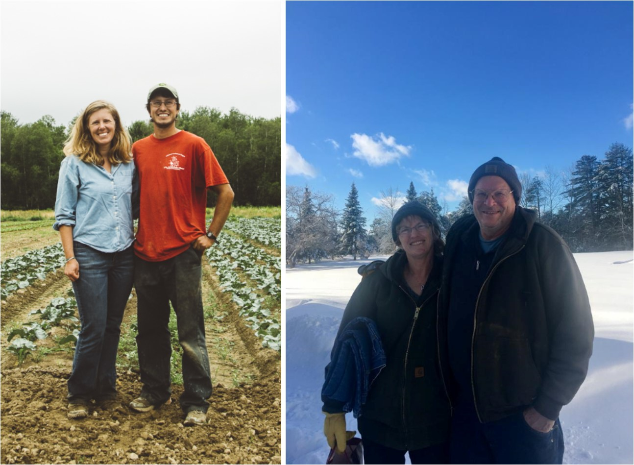 Bethany Allen & Eric Ferguson of Harvest Tide Organics (R) and Kathy & Pete Karonis of Fairwinds Farm (L) own the protected properties.