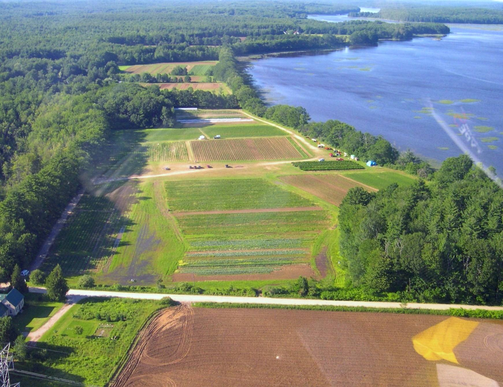 Aerial photo of the farmland on Pork Point. Fairwinds Farm photo.