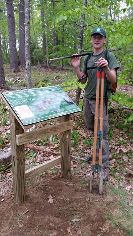 Already hard at work! Rhyan (pictured above) helped to install new interpretive signs at Sewall Woods preserve detailing the Demonstration Forest Project.