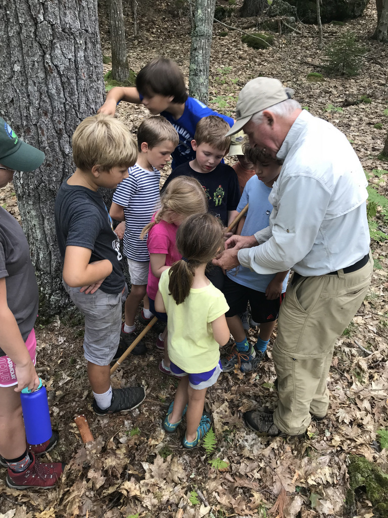 """Two of Bob and Lyn's grandchildren attended KELT's Kids Summer Day Camp this year. Here they are learning from """"scientist Jack"""" about trees."""