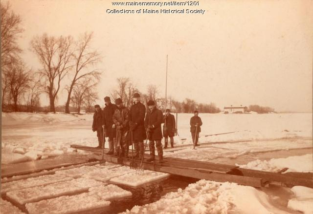 Cutting ice on the Kennebec River in Bowdoinham, ME circa 1895 .    Photo courtesy of Maine Historical Society