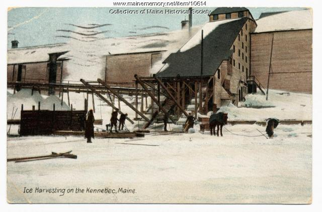 Ice harvesting on the Kennebec, 1910 .  Photo courtesy of Maine Historical Society