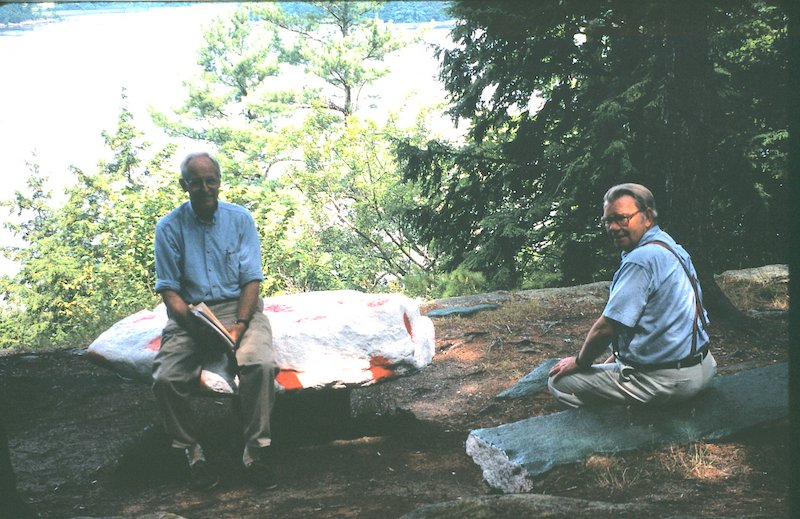 (L to R) Tom Barrington and John Doane at the Mushroom Cap in 1998. Still a popular spot today to take a seat and enjoy the fresh air and scenery!