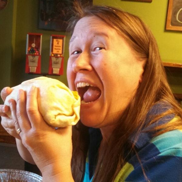 Happy woman at Mountain Burrito