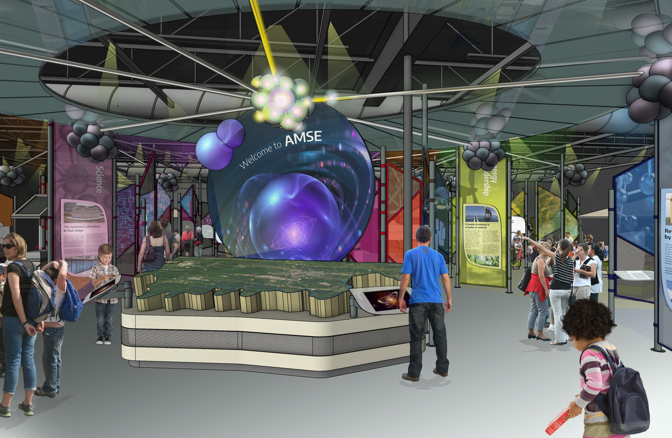 This rendering shows the proposed entrance and introductory area of the new museum exhibits, featuring an interactive map and digital multi-media display.