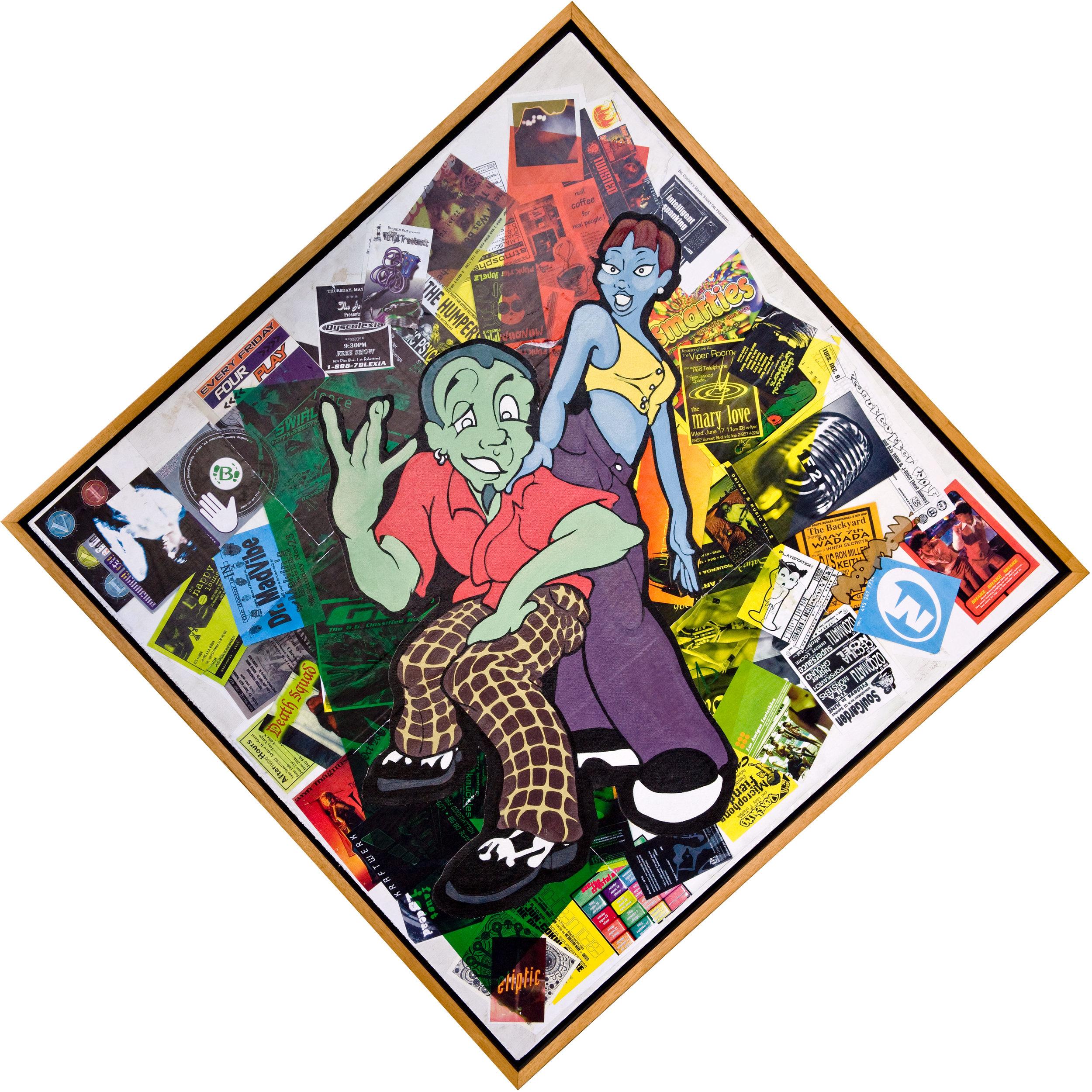 Cornelius 36x36 acrylic on canvas over found imagery collage on hardwood ply