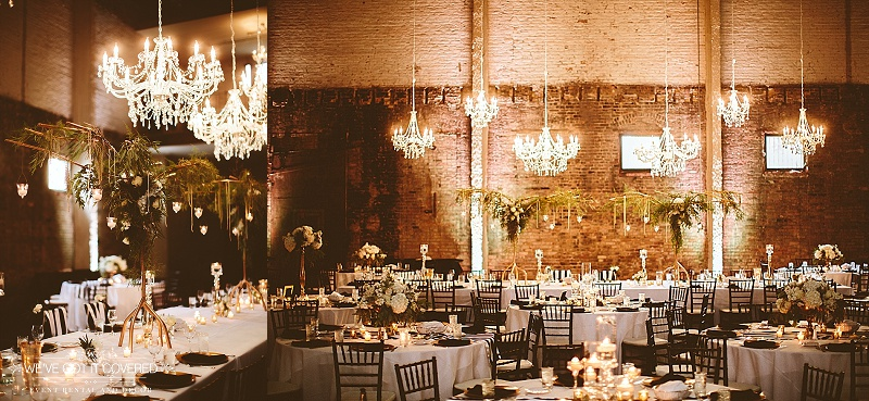 Wedding reception with gorgeous lighting from chandeliers, added garland for the head table and flowers that stand above all.