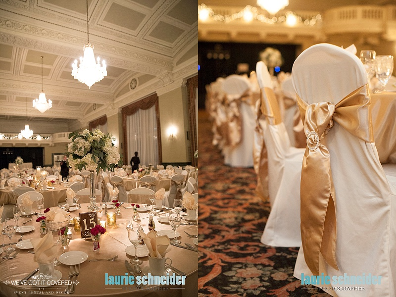 Gold satin sashes tied with a diamond buckle and tables with flowers and candle votives