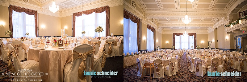 diamond accent on gold sashes and ivory chair covers for wedding inspiration