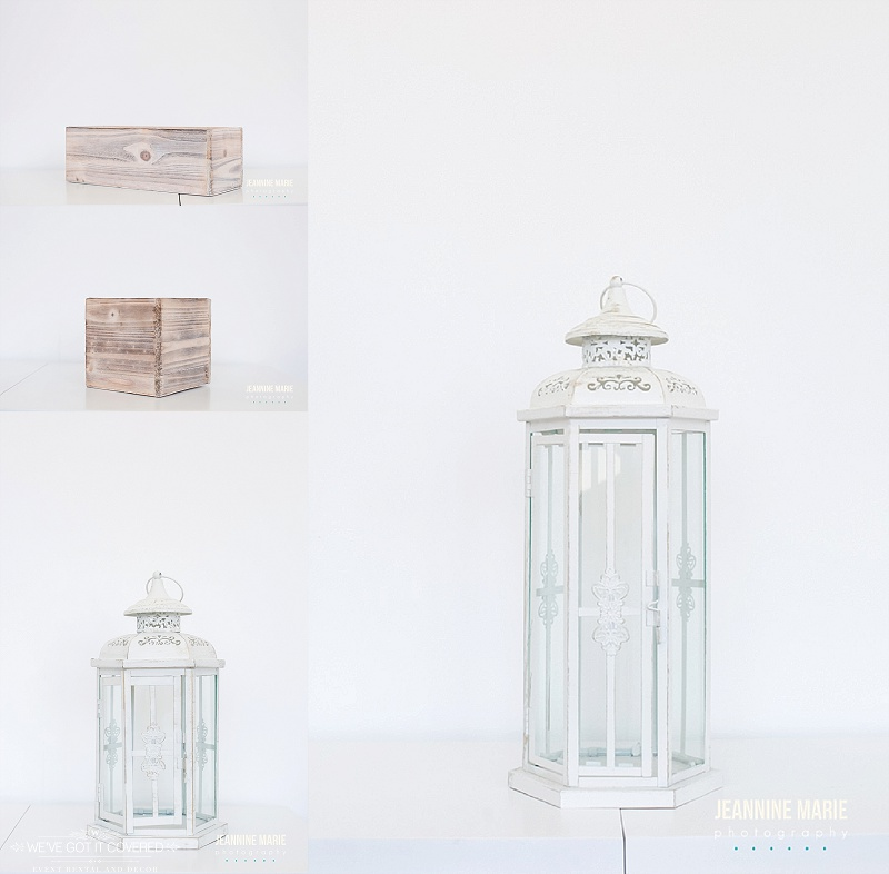 Lighthouses and wood boxes for flowers used for decoration and rental