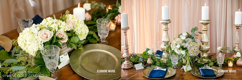 wedding reception table ideas that have flowers, gold plates, greenery, napkins and candles