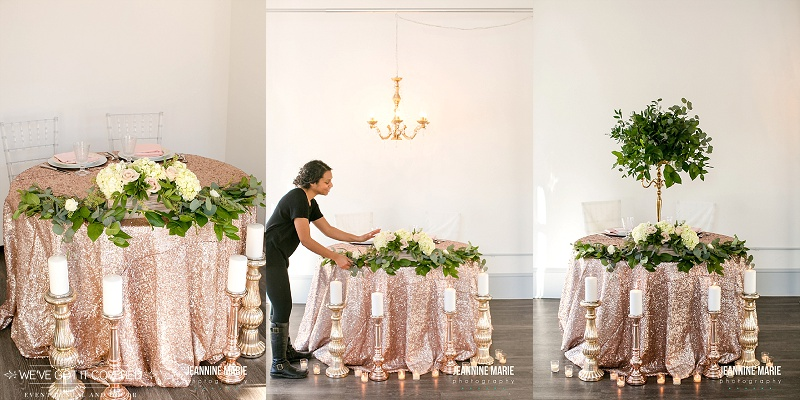 Sequin linen for a sweetheart or head table surrounded by mercury blush candlesticks and garland and a chandelier