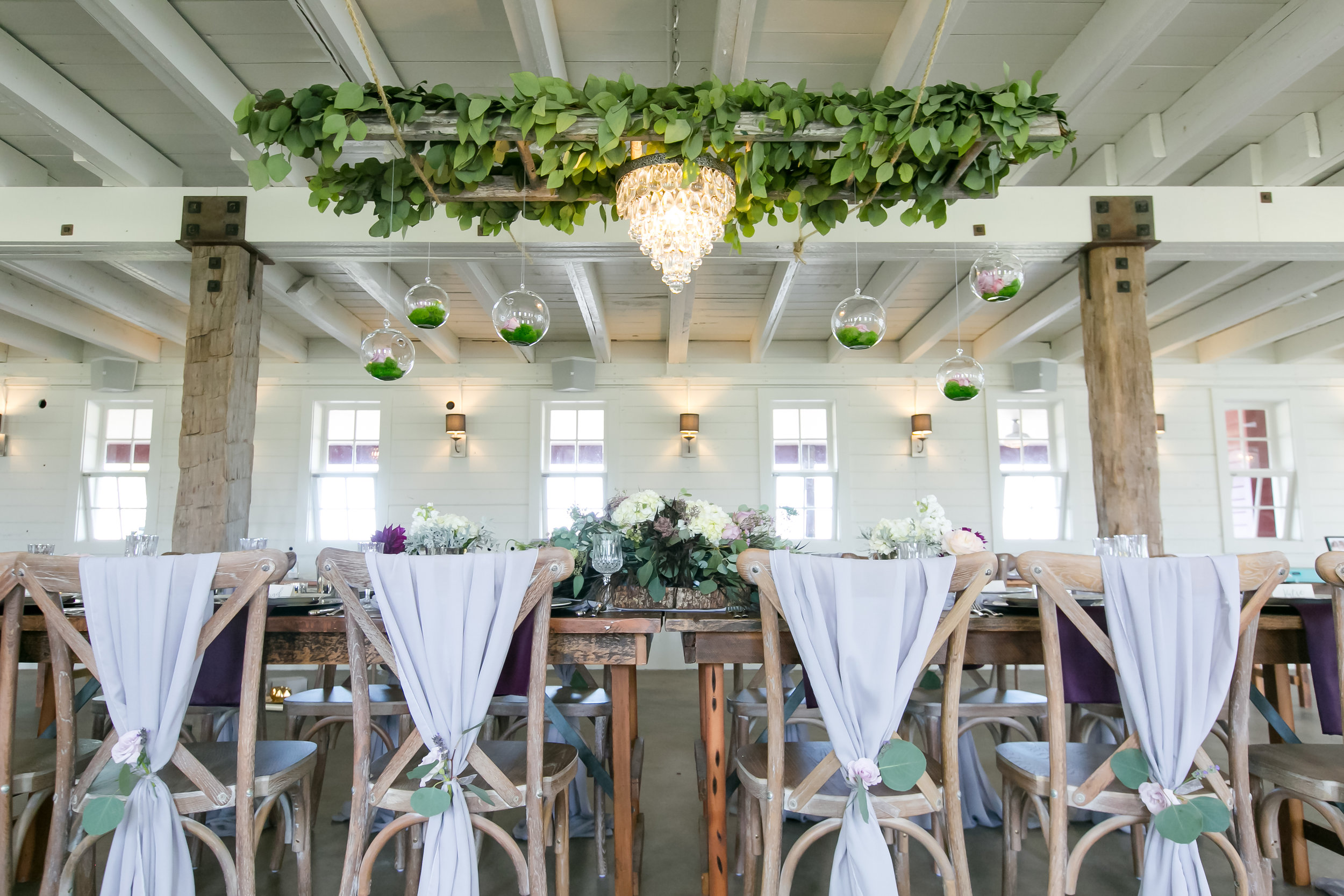 Farm styled shoot for wedding decor and head table inspiration / chair wraps